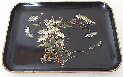 Antique French Black Tray Napoleon Iii Paper Mache Painted