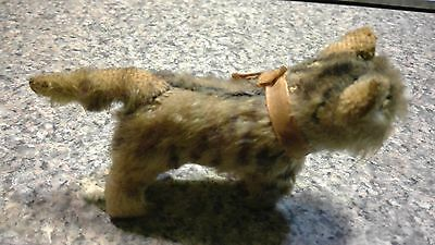 """Vintage 5"""" Steiff Tabby Cat with Tag and Bell"""