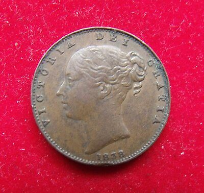 1838 DEF: Victoria Copper Farthing Coin Britiish nice condition