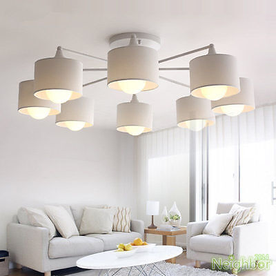 New Modern LED Ceiling lamp White Chandelier Pendant Light Living Room Lighting