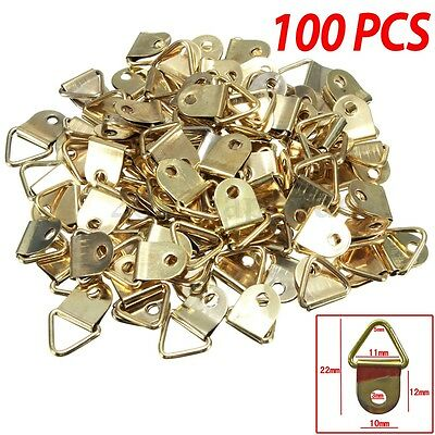 100Pcs Picture Frame Triangle D Rings Hooks Nickel Plated Wall Canvas Hangers
