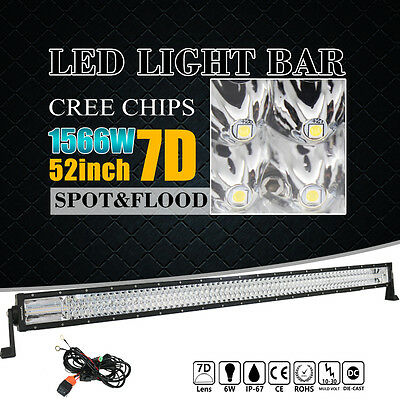 "52""Inch 1566W LED Light Bar CREE Spot Flood Offroad Work Driving 4WD V 42'' 50''"