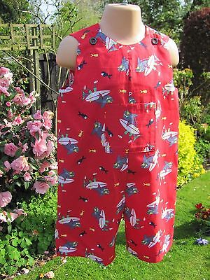 Boys, Cut-off Dungarees, Surfing Sharks, Age 18-24 months, New, Handmade