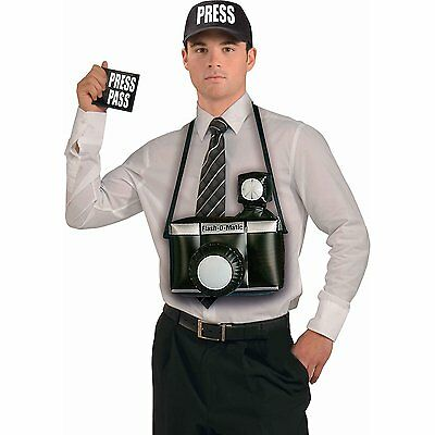 Paparazzi Costume Acces.Kit w/Press Cap,Inflatable Camera,Press Pass FREE SHIP