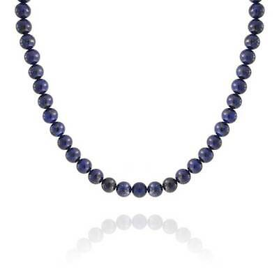 Silver Plated Round 10mm Lapis Lazuli Bead Necklace 18 Inch