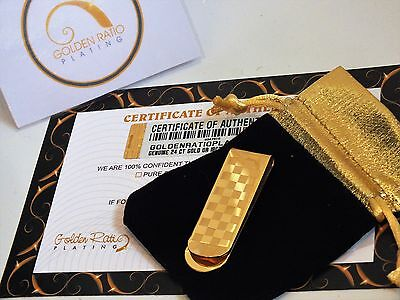 24Ct Gold Plated Checkered Square Money Clip Cash Note Card Holder Gift Bag 24k