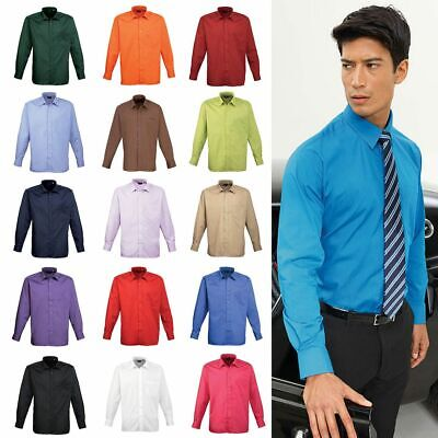 Men's Long Sleeve Poplin Shirt Plain Work Shirt Premier PR200 Sizes 14.5 - 22