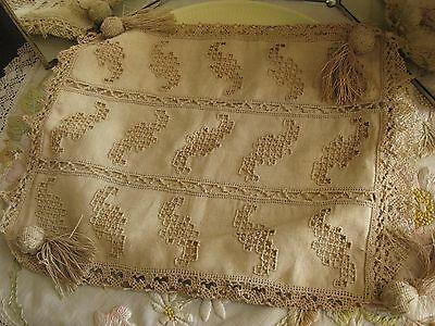 Antique Italian Linen/lace/tassels Pillow Cover Hand Made Punto Needle Work!