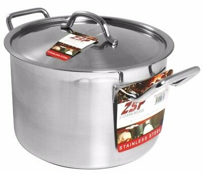 ZSP Heavy Duty Stainless Steel Pan Professional Large Saucepan & Lid  28cm 12.3L
