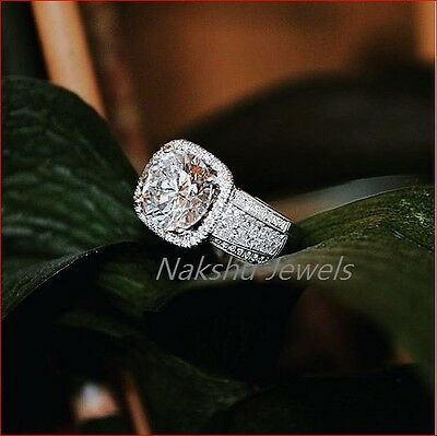 2ct Off White Moissanite Round Vintage Halo Engagement Ring 925 Sterling Silver