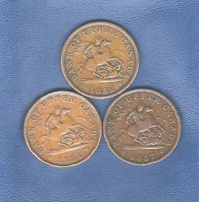 1852, 1854 & 1857 Bank of Upper Canada 1 cent tokens { lot of 3 coins}