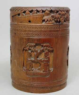 Antique CHINA Chinese 19th Century CARVED BAMBOO BRUSH POT WITH FIGURES