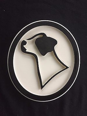 Black White Jack Russell Dog Profile Oval Display Sign Plaque Recycled Plastic