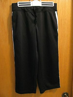 Danskin Now Womens Athletic Capris/pants Size S (4-6) Black With White Stripe