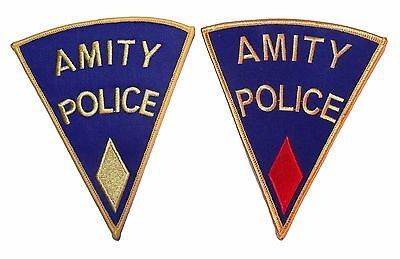 """JAWS Movie Amity Police Set of 2 Embroidered Logo PATCHES PREMIUM QUALITY 5 1/2"""""""