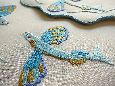 FLYING FISH Vintage Hand Embroidered Linen 13pc Set PLACEMATS NAPKINS RUNNER