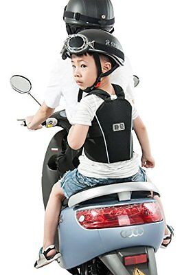LB Child Harness Motorcycle Safety Strap Security Buckle Design Back Seat Black