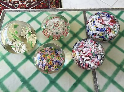 Lot of 5 Vintage  Paperweights 2 Sandwich