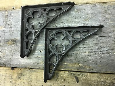 "Pair of 7x7"" Cast Iron Gothic Shelf Brackets - Antique Style Old Heavy Duty"