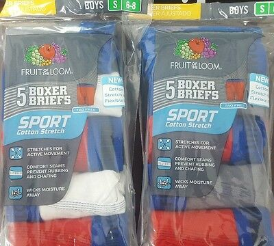 Fruit of the Loom Boys Sport Boxer Briefs 5 Pk (Selling 2 pks together) Size 6-8