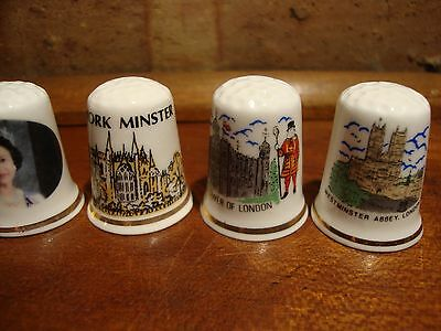 6 Collector  Thimbles - Queen Elizabeth - Fine Bone China - Britain Thimbles