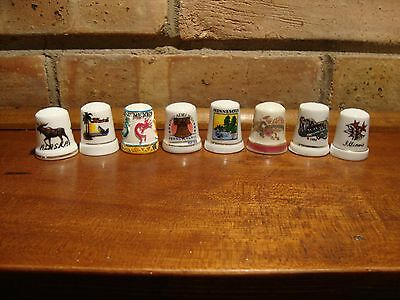 Lot Of Eight Collector  Thimbles Thimble Various States  Il,mn,nm,ak,ms,ca,hi,pa