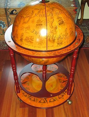 "Antiqued Ornate Globe Map Wood Stand 22"" Large World Terrestrial bar Zodiac Ship"