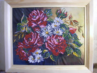 Handmade Beaded Embroidery picture.Completed Hand Beaded Embroidered Picture.