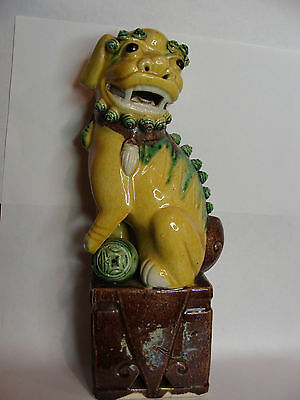 Antique/Vintage Yellow Glazed Foo Dog Lion Figurine Statue Chinese Perfect 1910