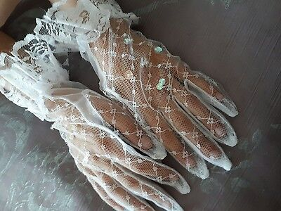 Age 11 girls Lace Gloves First holy Communion Wedding Flower Girl fancy dress
