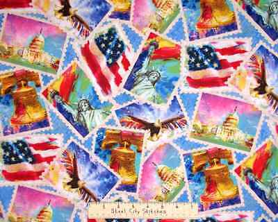 Americal The Beautiful Statue Of Liberty Bell Patriotic USA Cotton Fabric Yard