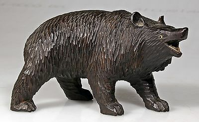Antique Black Forest Style Carved Wooden Bear with Glass Eyes