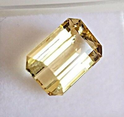 5.14 Ct. Natural Golden Beryl Heliodor Loose Stone Gemstone Emerald Cut gemstone