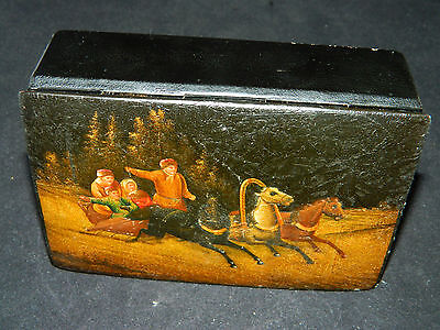 Antique Russian Troika paper mache laquered hand painted box