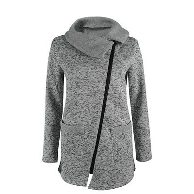 Womens Casual Hooded Jacket Coat Long Zipper Sweatshirt Outwear Tops Gray XL