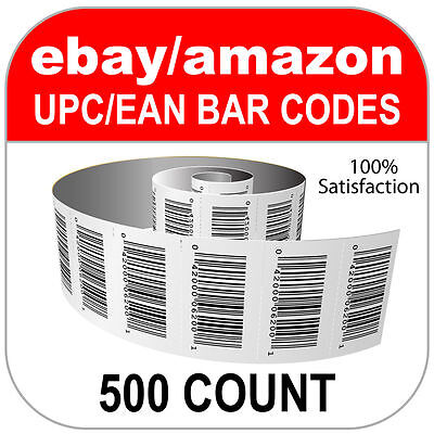500 UPC and EAN Numbers GS1 Barcodes Bar Code Amazon eBay Plus Images for Labels