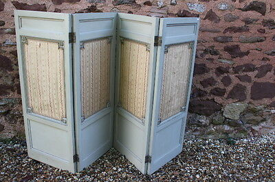 Edwardian silk and painted classical room divider screen screen
