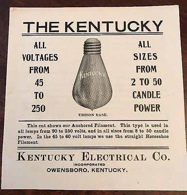 Original 1910s Kentucky Electrical Lamp Co Owensboro KY Light Bulb Brochure Ad