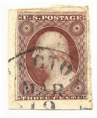 US Sc# 10A Used Imperforate Stamp with Black Cancel