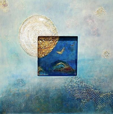 Abstract Art Modern Mix Media Acrylic Painting Blue And