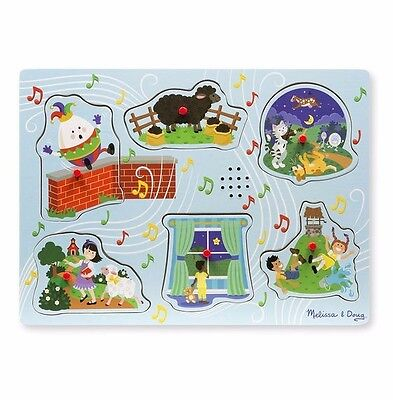 Melissa and Doug Wooden Sound Puzzle with Nursery Rhymes Peg Puzzle Musical Blue