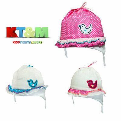 "Baby Toddler Girl Summer 100%Cotton Beach Hat Cap Chin Straps ""Bird"" Size 1-4m"