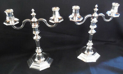 PAIR of CHRISTOFLE Silver CLUNY 2 Arm Light 2 Part Candelabra Candlestick France