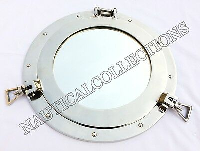"Aluminum Porthole 12"" inch Mirror Ship Window Porthole Mirror Wall & Home Decor"