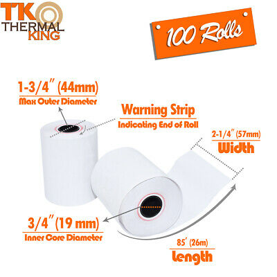 "Thermal King, Thermal Credit Card Paper (2 1/4"" x 85' - 100 Rolls)"