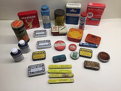 Nice lot of 28 vtg medicine snuff band aid asst. advertising general store tins