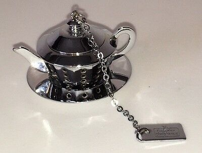Gallery Originals Teapot Kettle Shape Silver Plate Tea Strainer Infuser