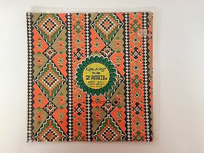 Vintage Retro Orange/Gold Gift Wrapping Crafting Paper Southwest Look - Sealed