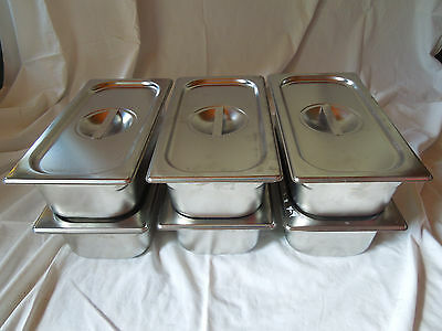 6 Vollrath 30342 Super Pan V Third Size 4 in Deep Steam Table Pans & Lids 75130