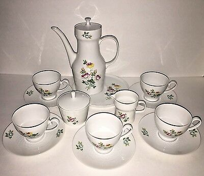 Antique Bavaria White Porcelain Floral Tea Set Serves 5 Vintage